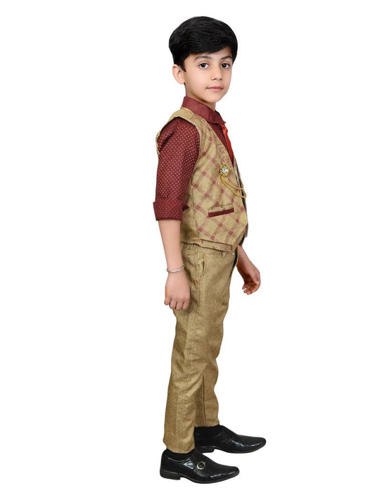 Boys Kids Cotton Blend Waistcoat, Shirt, Tie & Trouser Set