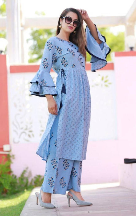 Women's Cotton Slub Kurta With Palazzo