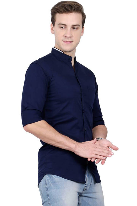 Chinese Mandarin Collar Shirt For Men - Navy Blue