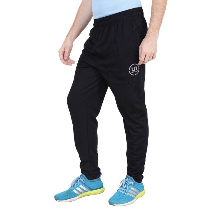 Men's Black Polyester Blend Regular Fit Track Pants