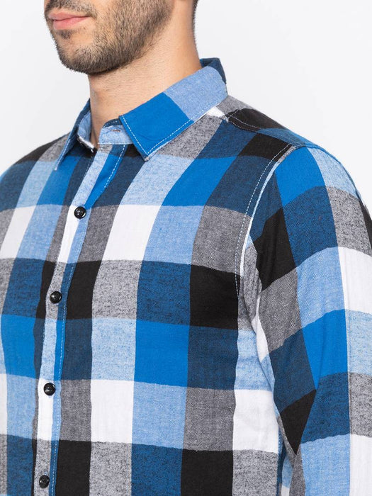 Men's Multicoloured Checked Cotton Slim Fit Casual Shirt