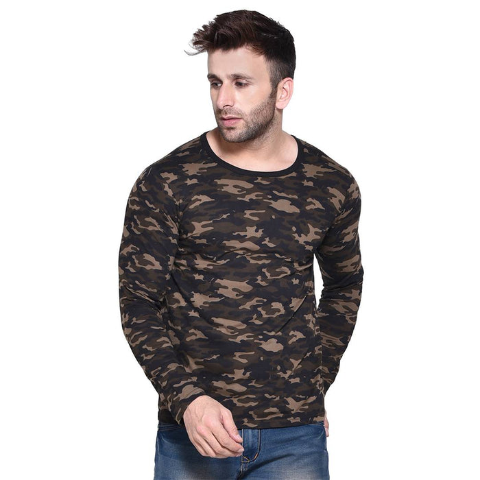 Men's Multicoloured Printed Cotton Round Neck Tees