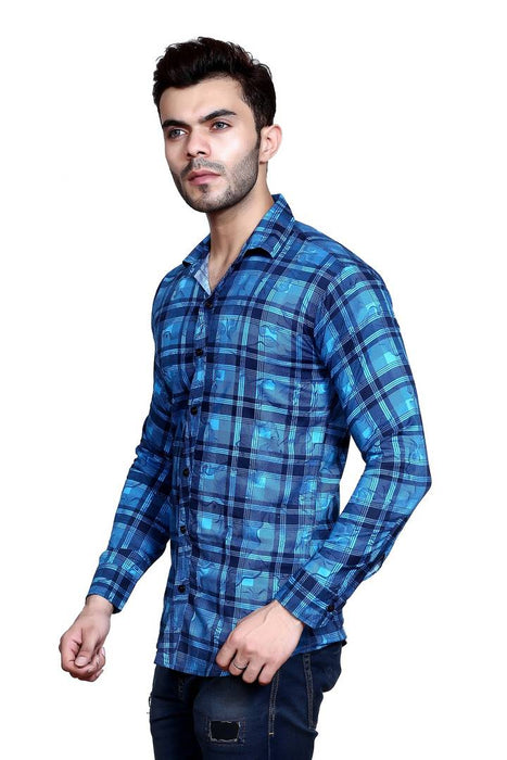 Men's Multicoloured Checked Cotton Blend Regular Fit Casual Shirt