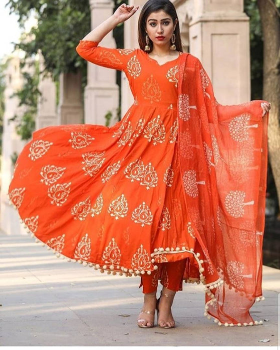 Stylish Orange Cotton Pom Pom Work Kurti And Pant With Dupatta