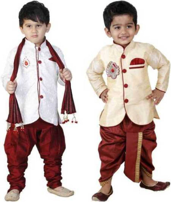 Boys Festive & Party Sherwani and Churidar Set (pack of 2)