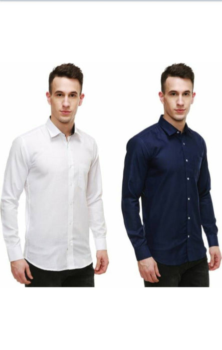 Men's Solid Cotton Slim Fit Casual Shirt Pack Of 2