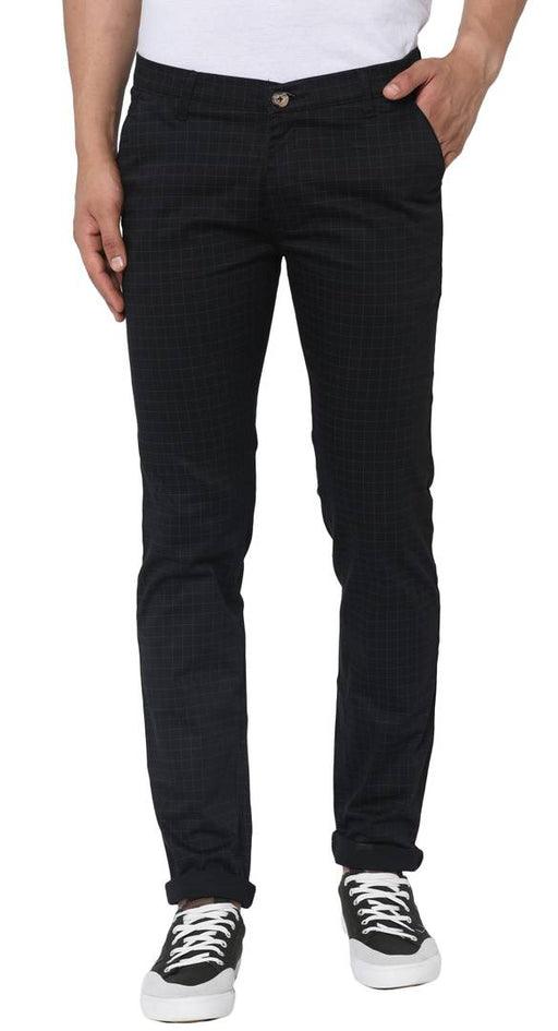 Men's Black Cotton Slim Fit Checked Trousers