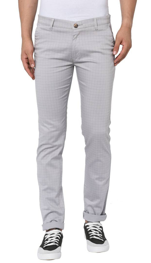 Men's Grey Cotton Slim Fit Checked Trousers