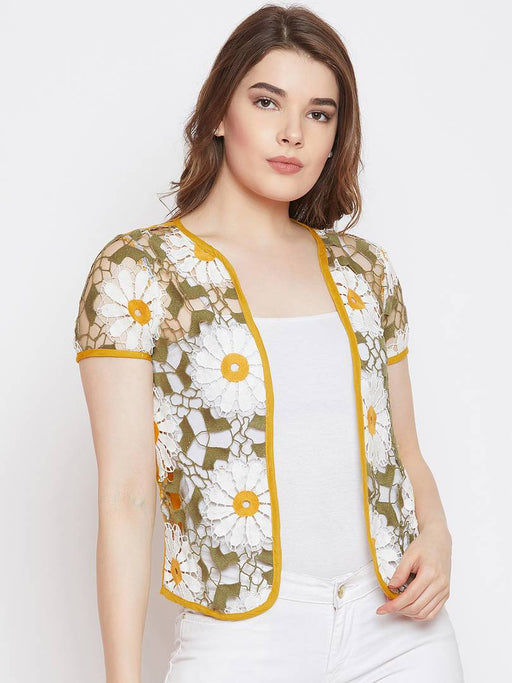 Fizera Women White and Mustard Color Rayon Lace Shrug