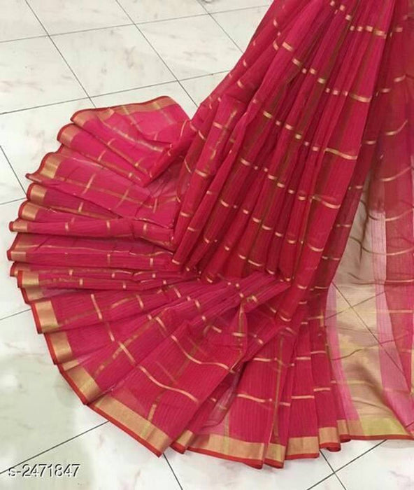 Pink Kota Doria Cotton Saree With Blouse Piece