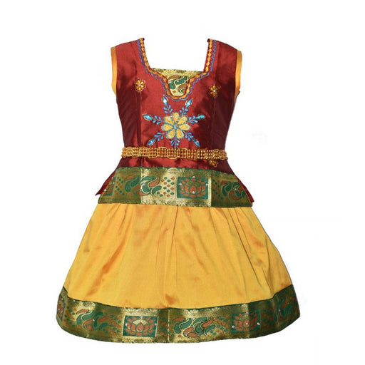 Flawless Maroon Embroidered Silk Blend Girl's Lehenga Cholis