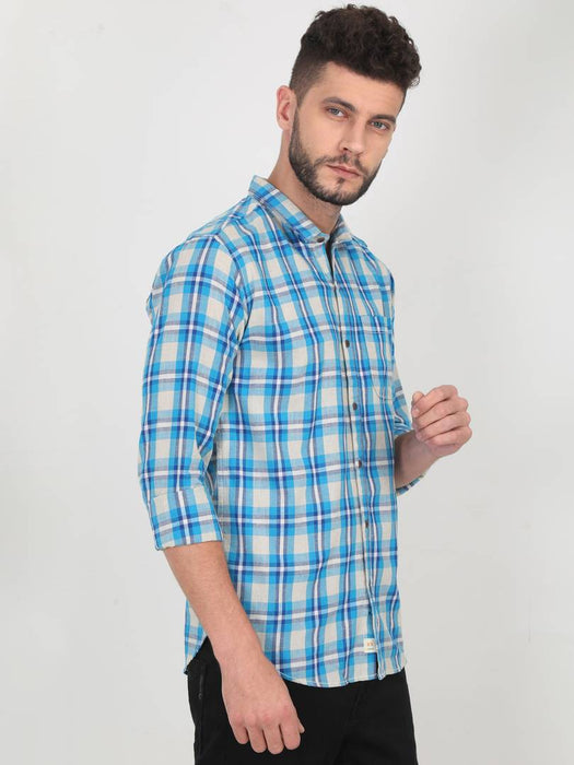 Blue Cotton Checked Long Sleeves Casual Shirt