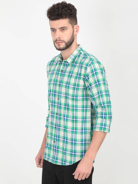 Green Cotton Checked Long Sleeves Casual Shirt