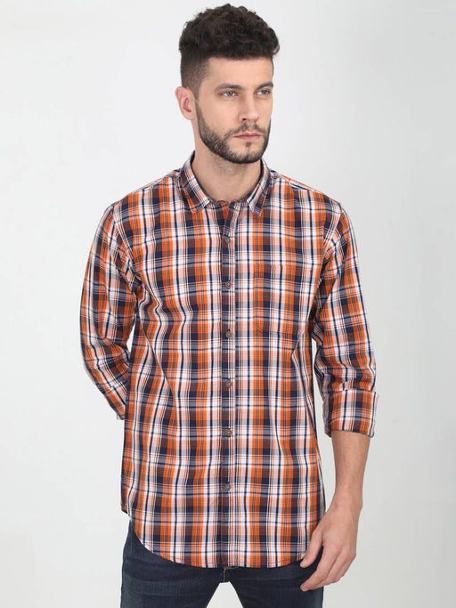 Orange Cotton Checked Long Sleeves Casual Shirt