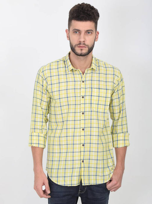 Yellow Cotton Checked Long Sleeves Casual Shirt