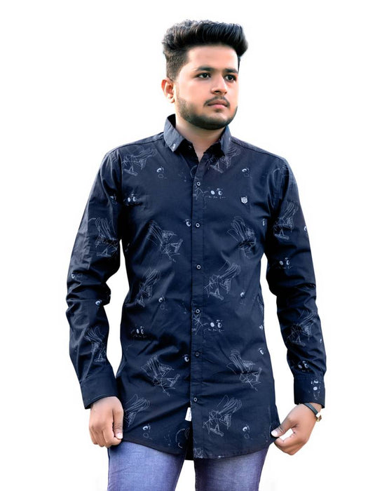 Black Printed Cotton Spandex Slim Fit Casual Shirt