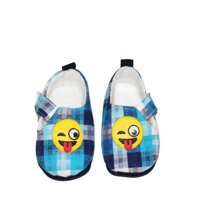 Elite Blue Printed Cotton Kid's Booties