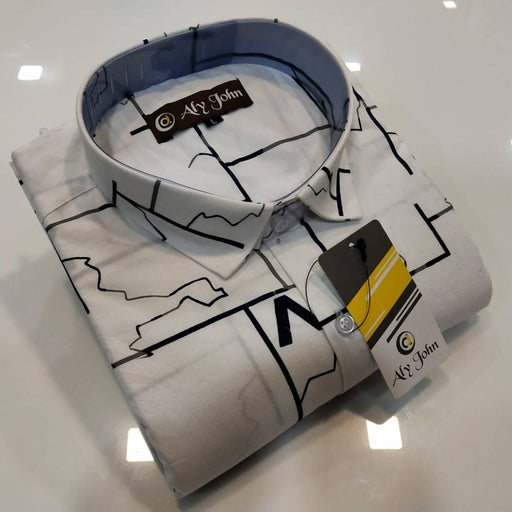 Men's White Cotton Printed Long Sleeves Regular Fit Casual Shirt