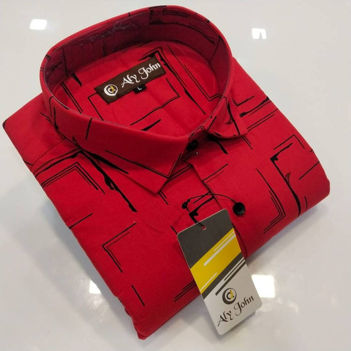 Men's Red Cotton Printed Long Sleeves Regular Fit Casual Shirt