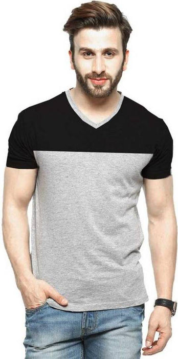 Men's Multicoloured Cotton Colourblocked V Neck Tees