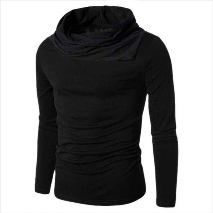 Men's Black Cotton Solid High Neck Tees