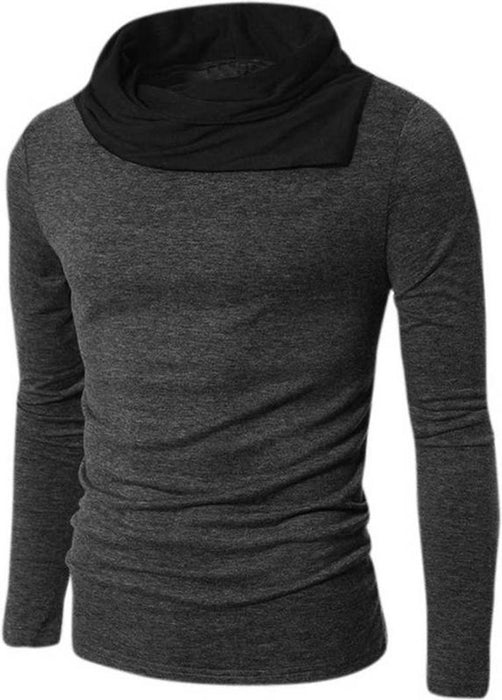 Men's Grey Cotton Solid High Neck Tees