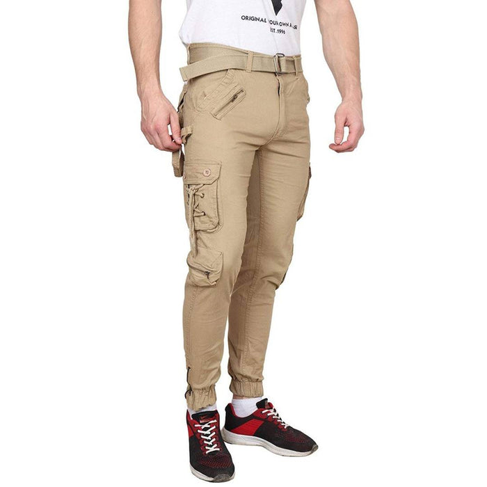 Men's Beige Cotton Blend Mid-Rise Solid Regular Fit Cargo