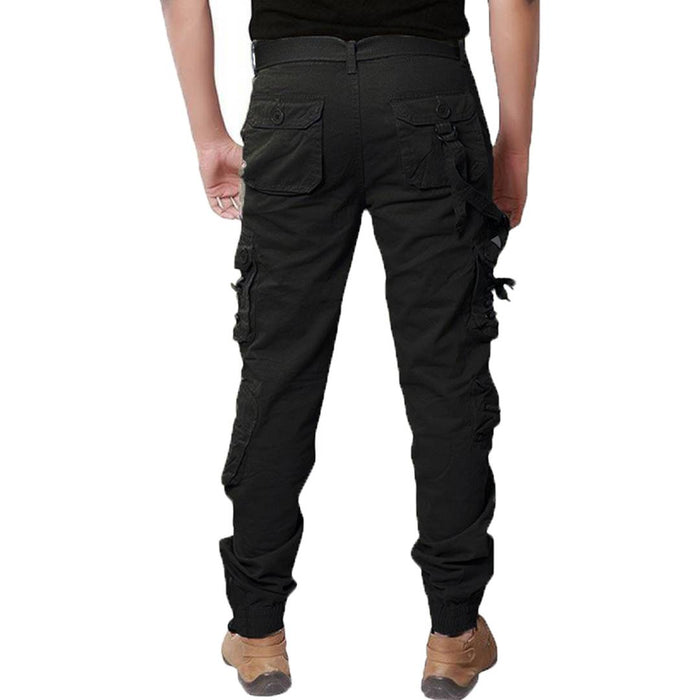 Men's Black Cotton Blend Mid-Rise Solid Regular Fit Cargo