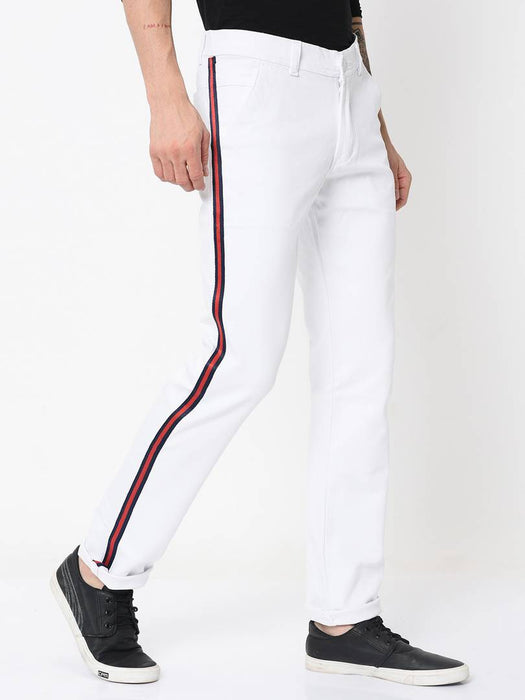 Men's White Cotton Blend Solid Slim Fit Casual Trouser