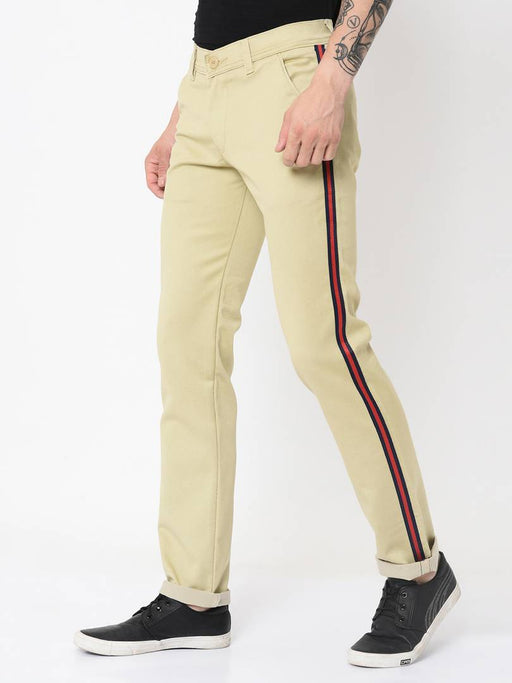 Men's Off White Cotton Blend Solid Slim Fit Casual Trouser