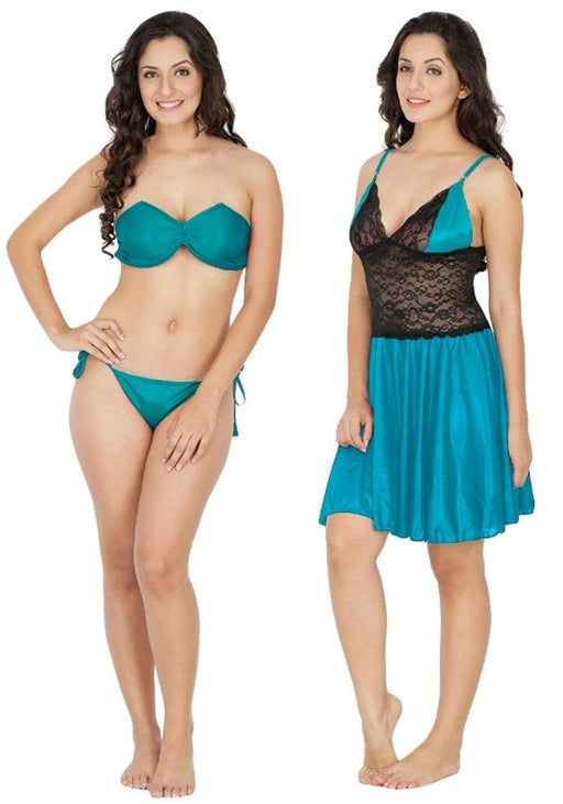 SATIN Sexy Night Dress / Baby Dolls & BIKINI SET