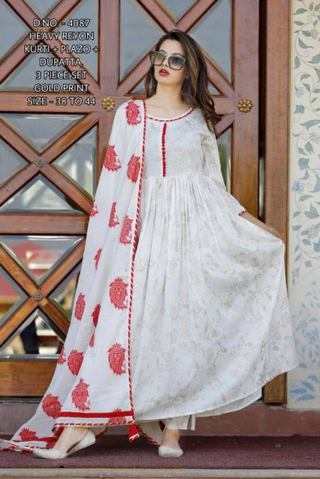 Elite White Heavy Rayon Kurta Palazzo Set With Dupatta