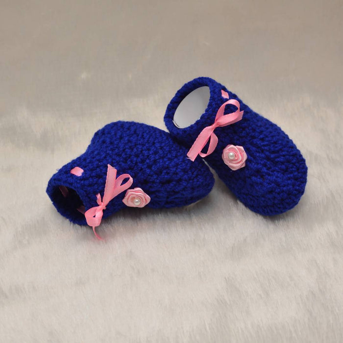 Long Lasting Blue Woven Design Wool Kid's Booties