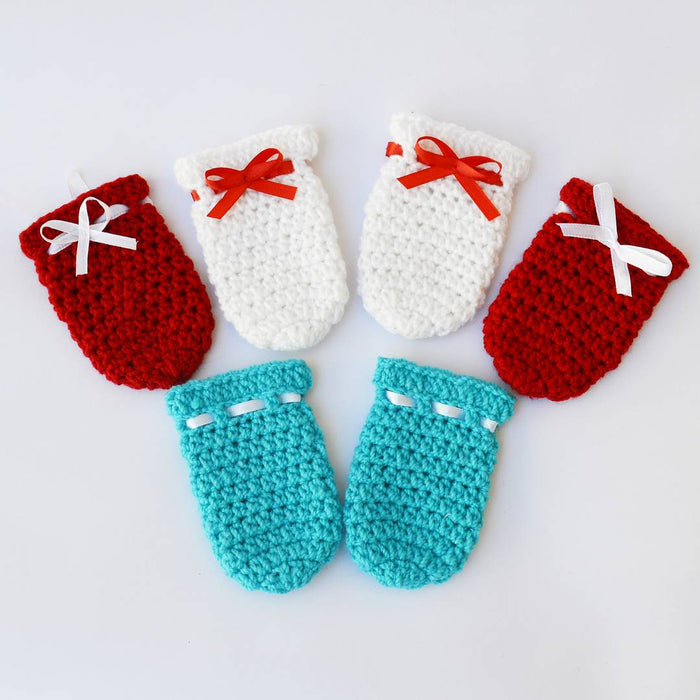 Long Lasting Multicoloured Woven Design Wool Kid's Mittens(3 Pairs)