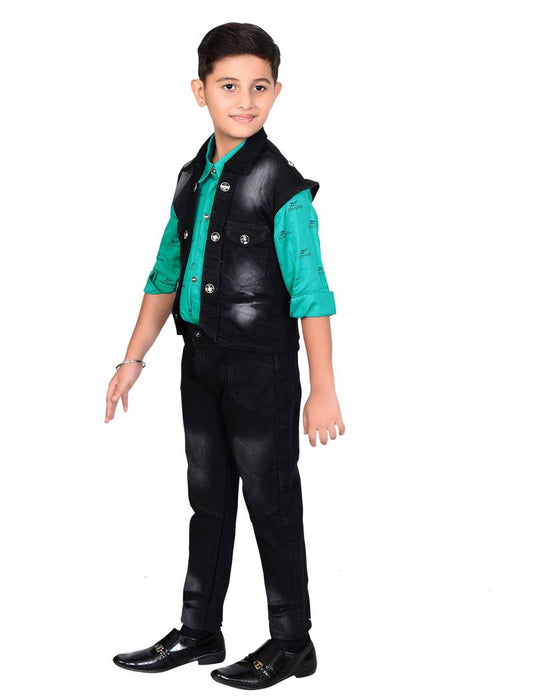 Cotton Blend Self Pattern Turquoise Colour Clothing Set For Kids