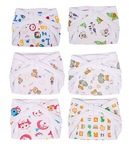 Padded Baby Nappies Colored - Pack Of 6  Multicolor, 0-3 Months)