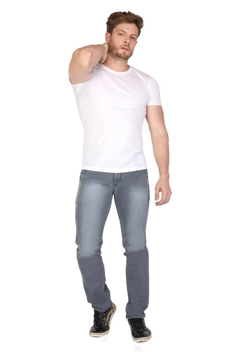 Men's Grey Denim Faded Slim Fit Low-Rise Jeans