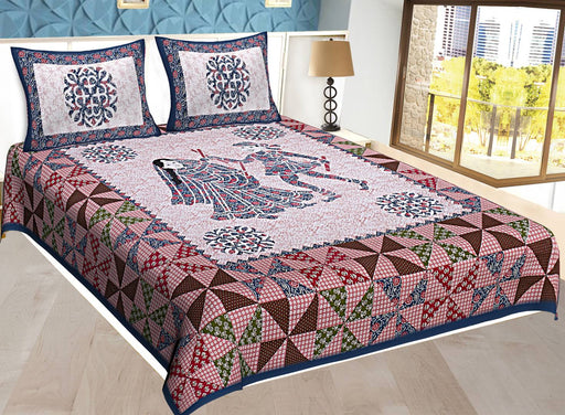 Comfortable Multicoloured Cotton Abstract Double Bedsheet