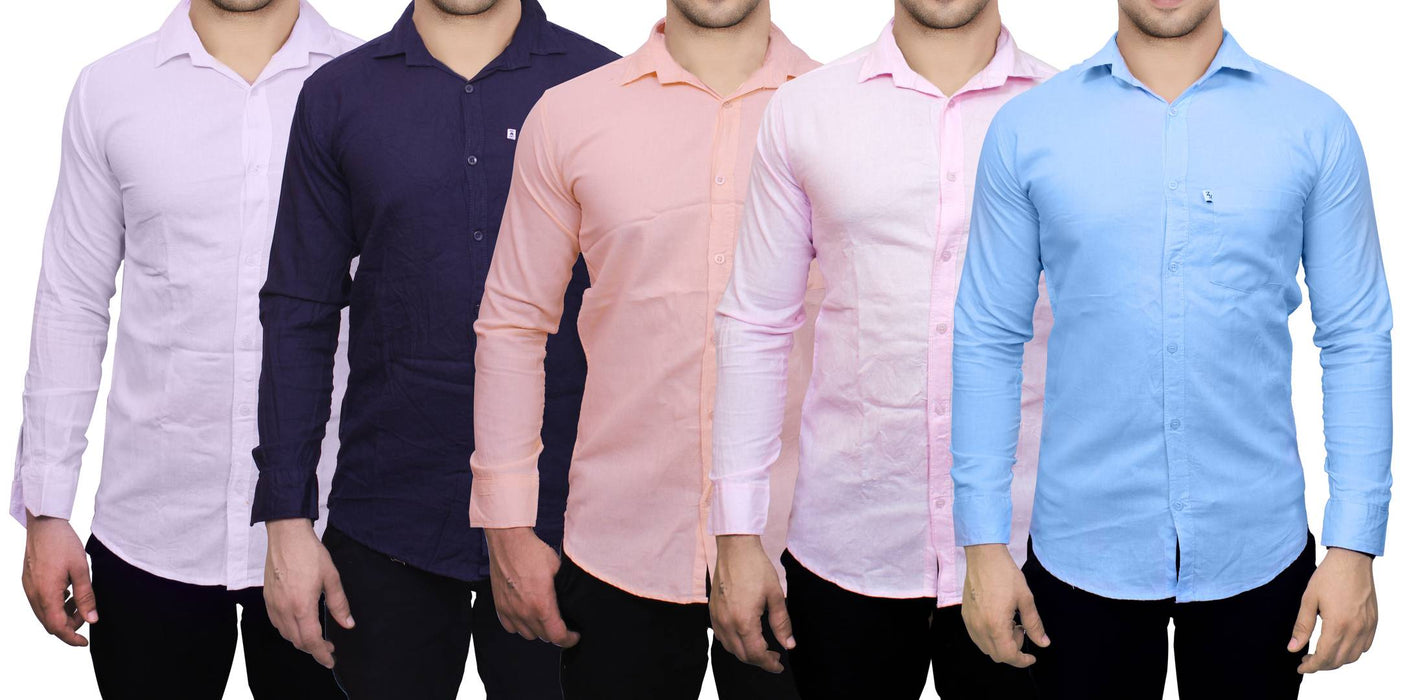 Men's Multicoloured Solid Cotton Slim Fit Casual Shirt (Pack of 5)