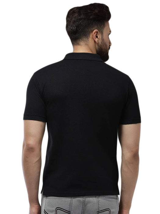Men's Black Cotton Blend Solid Polos T-Shirt