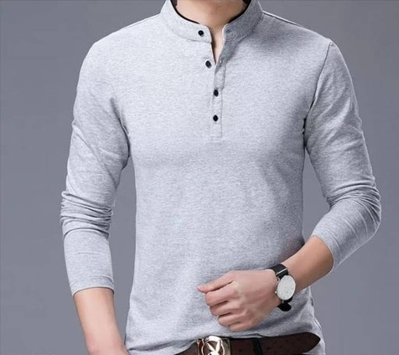Men's Trendy Solid Cotton Mandarin Tees