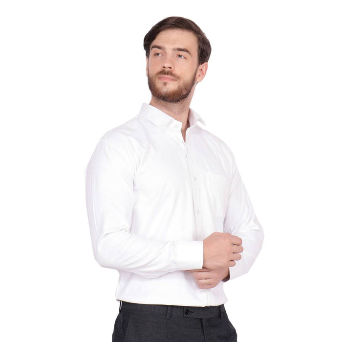 Men's White Cotton Long Sleeve Solid Regular Fit Formal Shirt