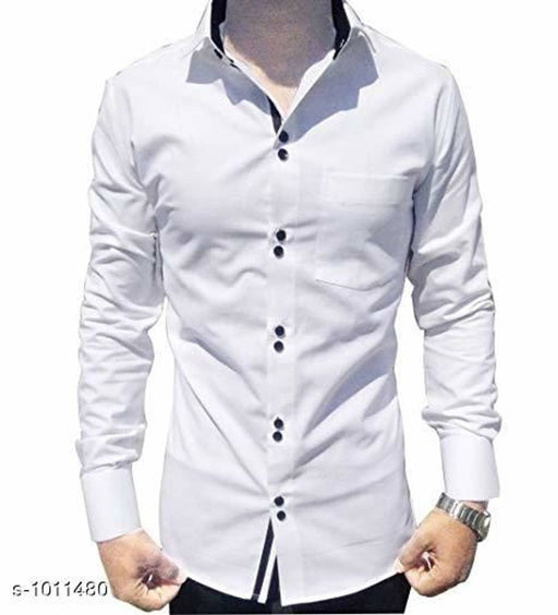 Men's White Cotton Long Sleeves Solid Slim Fit Casual Shirt