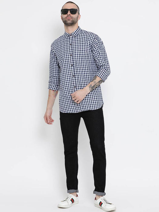 Men's Multicoloured Cotton Checked Long Sleeves Slim Fit Casual Shirt