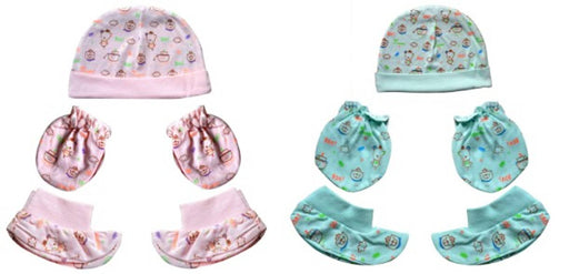New Born Baby Cap, Mittens Booties Combo Set, 0-3 Months, Infant, White Printed, Pack of 2 Sets