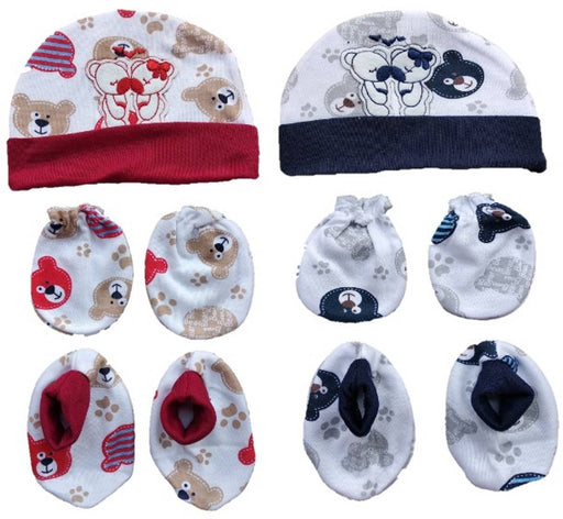 NewBorn Baby Mitten Cap and Booty Set (Set of 2) Print & Color May Vary