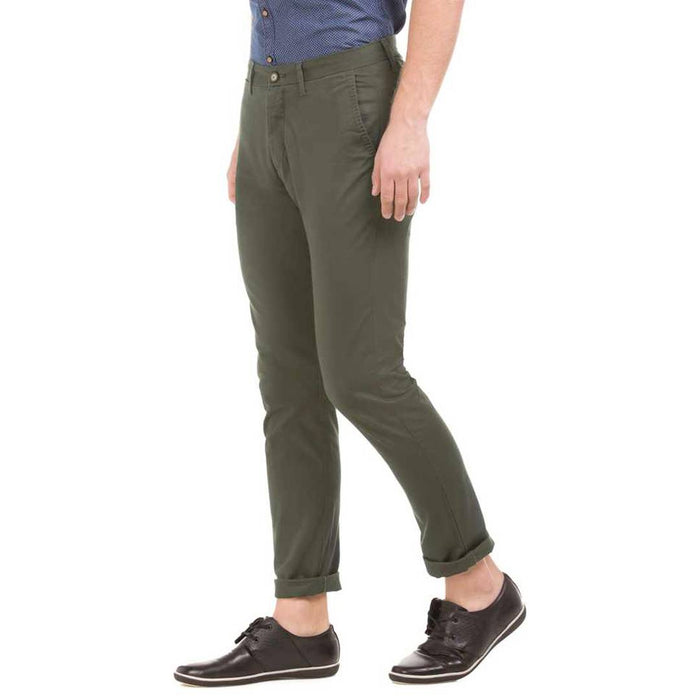 Men's Green Cotton Blend Mid-Rise Solid Slim Fit  Trendy Chinos