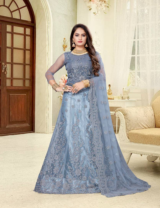 Designer Grey Self Pattern Net Lehenga Choli With Dupatta