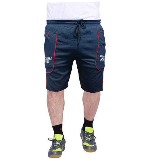 Men's Navy Cotton Self Pattern Regular Fit Shorts