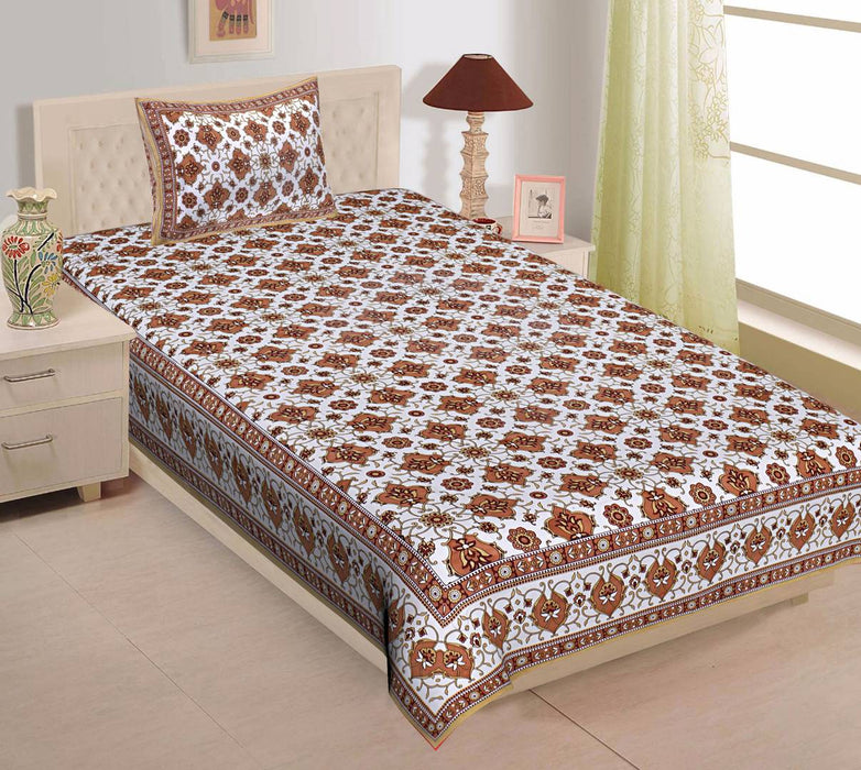 Cotton Single 1 Bedsheet + 1 Pillowcover